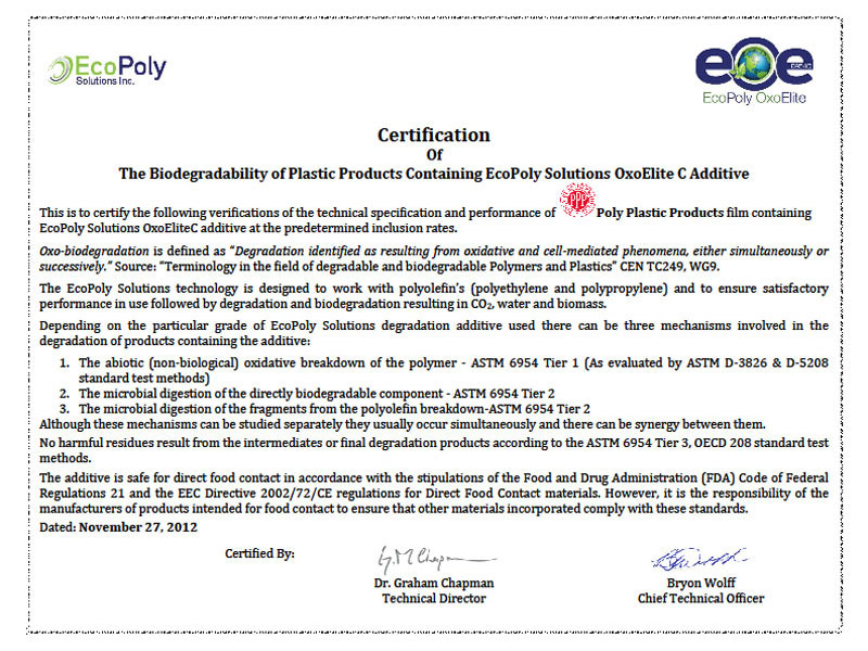 EcoPoly certificate